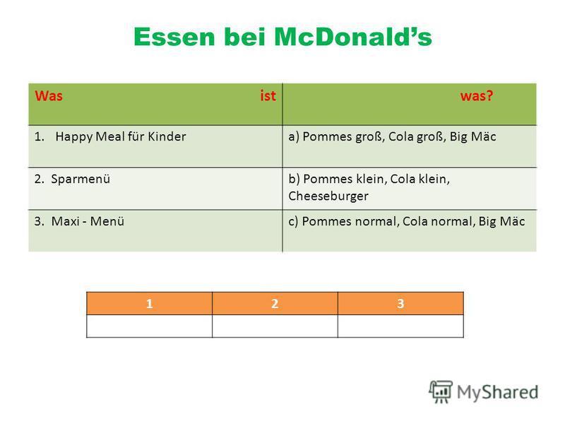 Essen bei McDonalds Was ist was? 1.Happy Meal für Kindera) Pommes groß, Cola groß, Big Mäc 2. Sparmenüb) Pommes klein, Cola klein, Cheeseburger 3. Maxi - Menüc) Pommes normal, Cola normal, Big Mäc 123