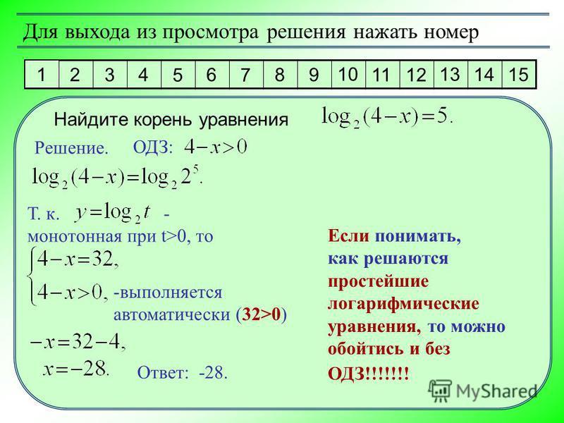 1 2 3 4 5 6 7 8 9 10 11 12 13 14 15 Для выхода из просмотра решения нажать номер Решение. Ответ: -28. Найдите корень уравнения ОДЗ: Т. к. - монотонная при t>0, то -выполняется автоматически (32>0) Если понимать, как решаются простейшие логарифмически