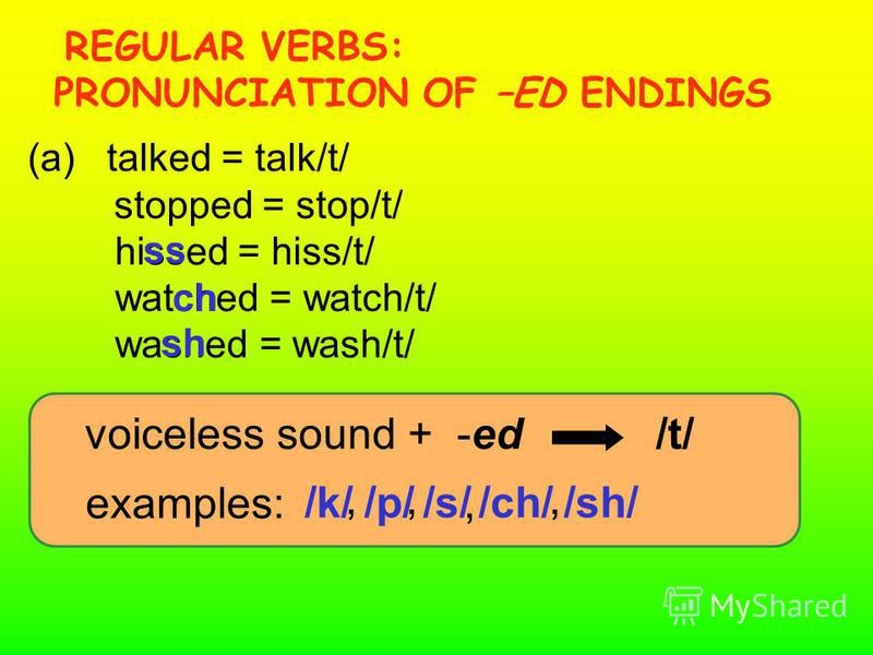 /k//s//ch//sh/, voiceless sound + -ed /t/ (a) talked = talk/t/ stopped = stop/t/ hissed = hiss/t/ watched = watch/t/ washed = wash/t/ examples: /p/ ss ch sh,,, REGULAR VERBS: PRONUNCIATION OF –ED ENDINGS