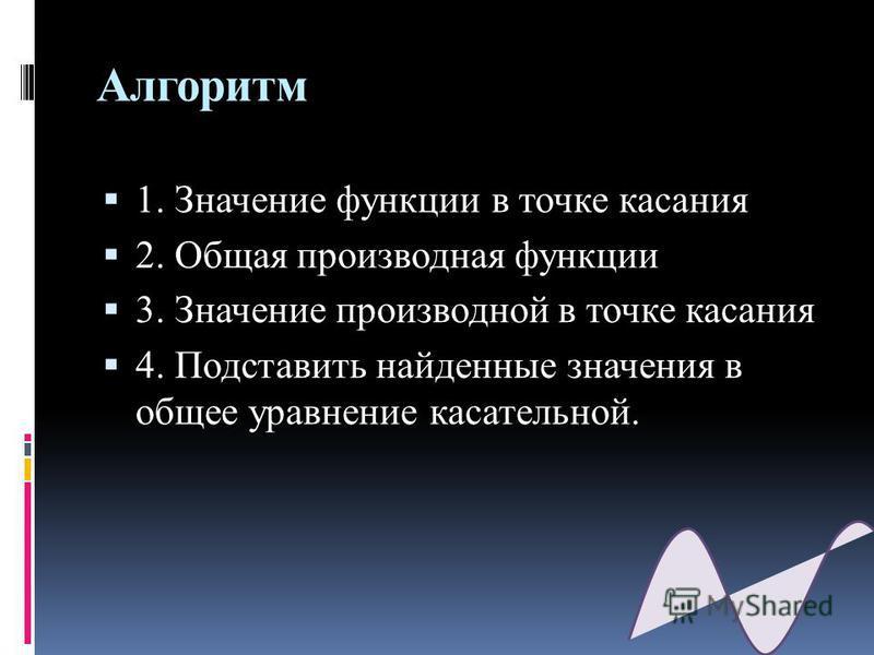Алгоритм 1. Значение функции в точке кассания 2. Общая производная функции 3. Значение производной в точке кассания 4. Подставить найденные значения в общее уравнение кассательной.