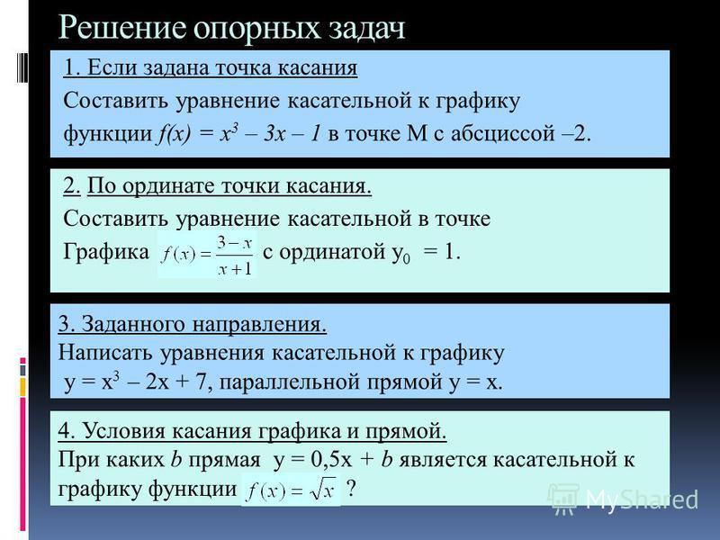 Решение опорных задач 1. Если задана точка кассания Составить уравнение кассательной к графику функции f(x) = x 3 – 3x – 1 в точке М с абсциссой –2. 2. По ординате точки кассания. Составить уравнение кассательной в точке Графика с ординатой y 0 = 1.