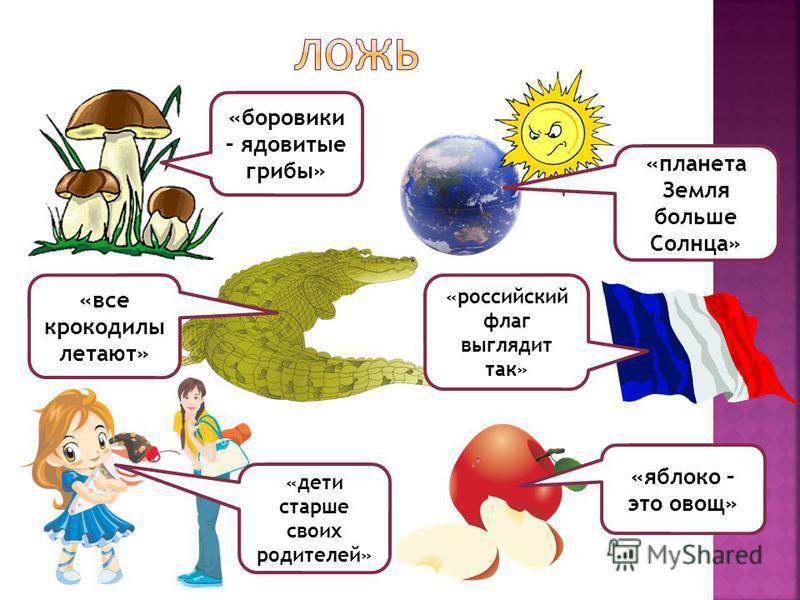 «боровики – ядовитые грибы» «планета Земля больше Солнца» «все крокодилы летают» «дети старше своих родителей» «российский флаг выглядит так» «яблоко – это овощ»