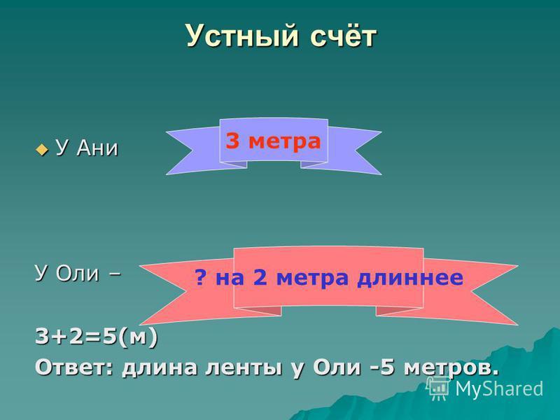 Устный счёт У Ани У Ани У Оли – 3+2=5(м) Ответ: длина ленты у Оли -5 метров. 3 метра ? на 2 метра длиннее