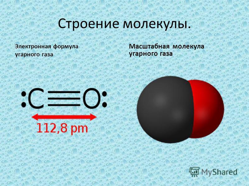 Строение молекулы. Электронная формула угарного газа Масштабная молекула угарного газа