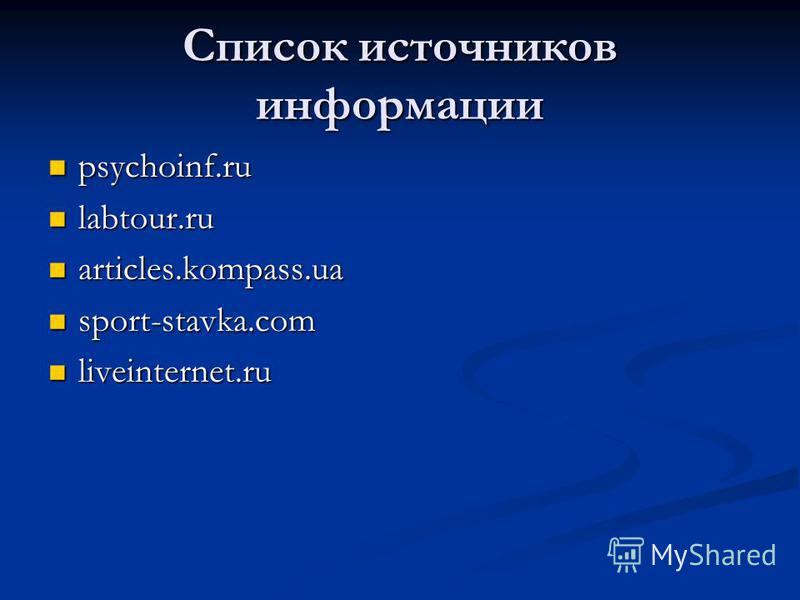 Список источников информации psychoinf.ru psychoinf.ru labtour.ru labtour.ru articles.kompass.ua articles.kompass.ua sport-stavka.com sport-stavka.com liveinternet.ru liveinternet.ru