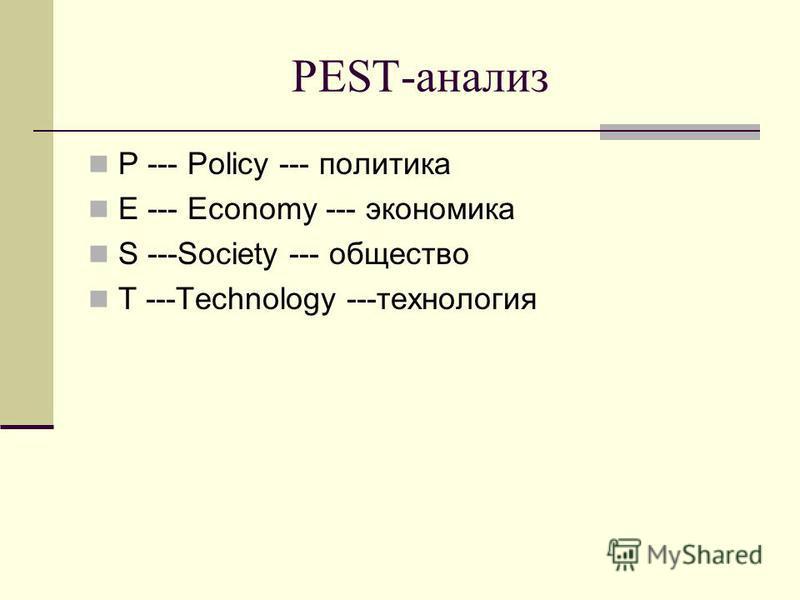PEST-анализ P --- Policy --- политика E --- Economy --- экономика S ---Society --- общество T ---Technology ---технология