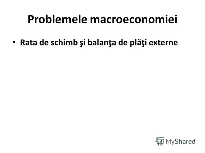 Problemele macroeconomiei Rata de schimb şi balanţa de pl ă ţi externe
