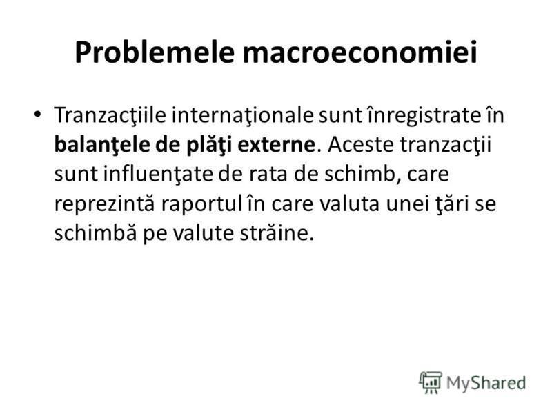 Problemele macroeconomiei Tranzacţiile internaţionale sunt înregistrate în balanţele de pl ă ţi externe. Aceste tranzacţii sunt influenţate de rata de schimb, care reprezint ă raportul în care valuta unei ţ ă ri se schimb ă pe valute str ă ine.