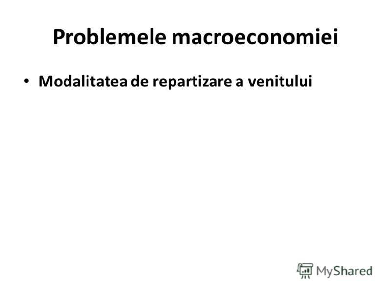 Problemele macroeconomiei Modalitatea de repartizare a venitului