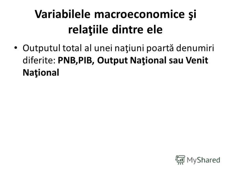 Variabilele macroeconomice şi relaţiile dintre ele Outputul total al unei naţiuni poart ă denumiri diferite: PNB,PIB, Output Naţional sau Venit Naţional