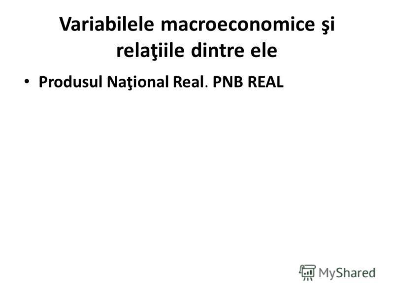 Variabilele macroeconomice şi relaţiile dintre ele Produsul Naţional Real. PNB REAL