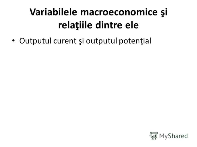 Variabilele macroeconomice şi relaţiile dintre ele Outputul curent şi outputul potenţial