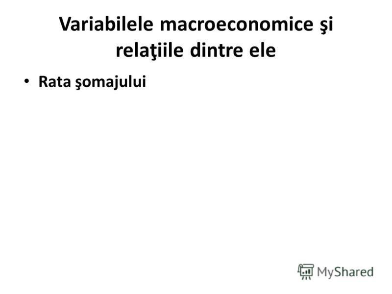 Variabilele macroeconomice şi relaţiile dintre ele Rata şomajului