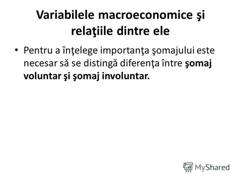 Variabilele macroeconomice şi relaţiile dintre ele Pentru a înţelege importanţa şomajului este necesar s ă se disting ă diferenţa între şomaj voluntar şi şomaj involuntar.