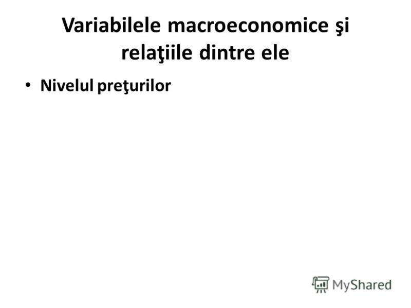 Variabilele macroeconomice şi relaţiile dintre ele Nivelul preţurilor