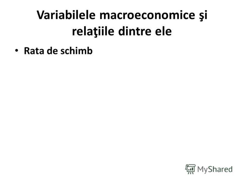 Variabilele macroeconomice şi relaţiile dintre ele Rata de schimb