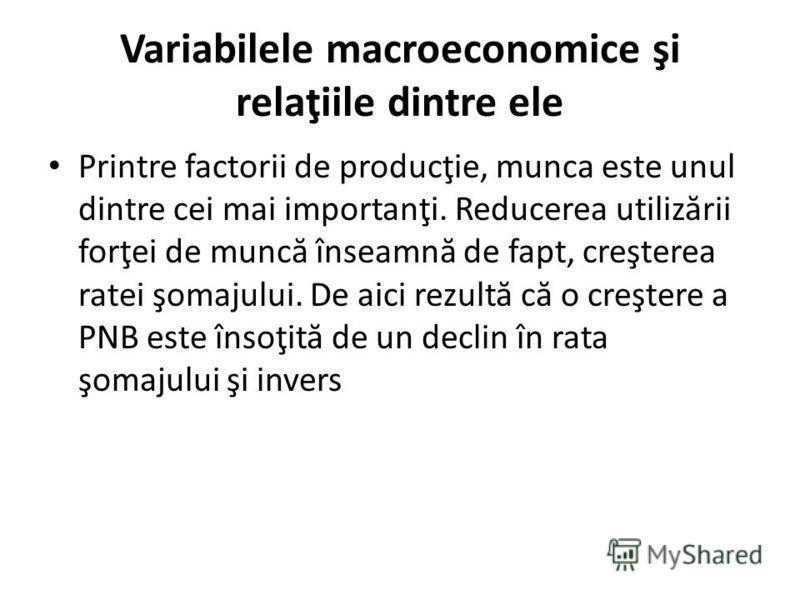 Variabilele macroeconomice şi relaţiile dintre ele Printre factorii de producţie, munca este unul dintre cei mai importanţi. Reducerea utiliz ă rii forţei de munc ă înseamn ă de fapt, creşterea ratei şomajului. De aici rezult ă c ă o creştere a PNB e