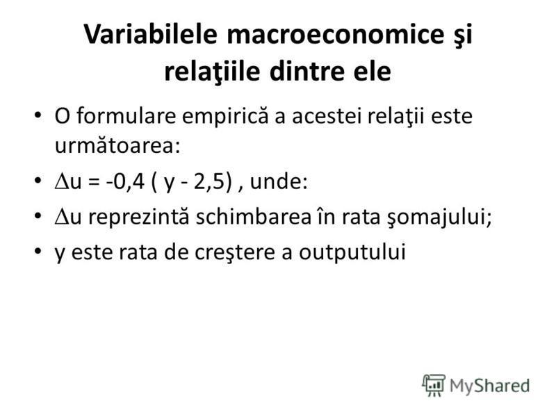 Variabilele macroeconomice şi relaţiile dintre ele O formulare empiric ă a acestei relaţii este urm ă toarea: u = -0,4 ( y - 2,5), unde: u reprezint ă schimbarea în rata şomajului; y este rata de creştere a outputului