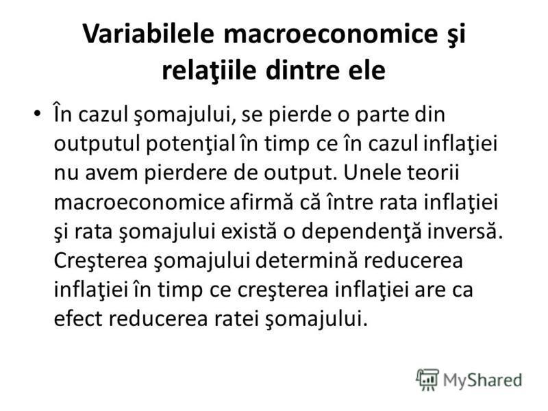 Variabilele macroeconomice şi relaţiile dintre ele În cazul şomajului, se pierde o parte din outputul potenţial în timp ce în cazul inflaţiei nu avem pierdere de output. Unele teorii macroeconomice afirm ă c ă între rata inflaţiei şi rata şomajului e