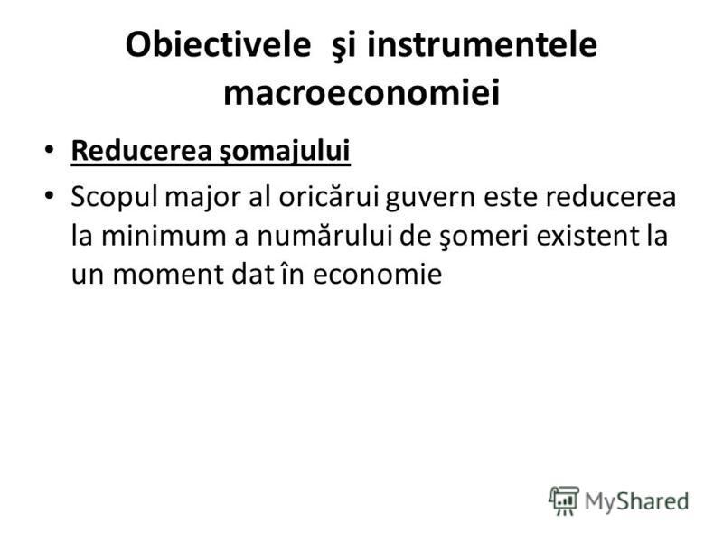 Obiectivele şi instrumentele macroeconomiei Reducerea şomajului Scopul major al oric ă rui guvern este reducerea la minimum a num ă rului de şomeri existent la un moment dat în economie