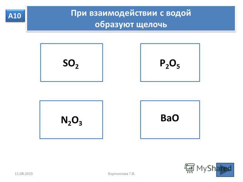А10 При взаимодействии с водой образуют щелочь При взаимодействии с водой образуют щелочь SO 2 N2O3 N2O3 P2O5P2O5 BaO 11.08.2015Бортникова Г.В.