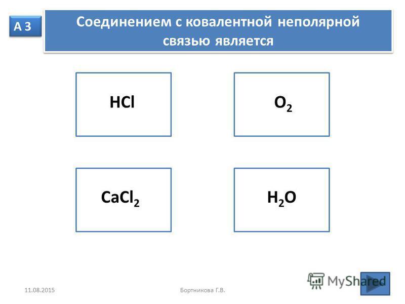 А 3 Соединением с ковалентной неполярной связью является Соединением с ковалентной неполярной связью является HClCaCl 2 H2OH2O O2 O2 11.08.2015Бортникова Г.В.