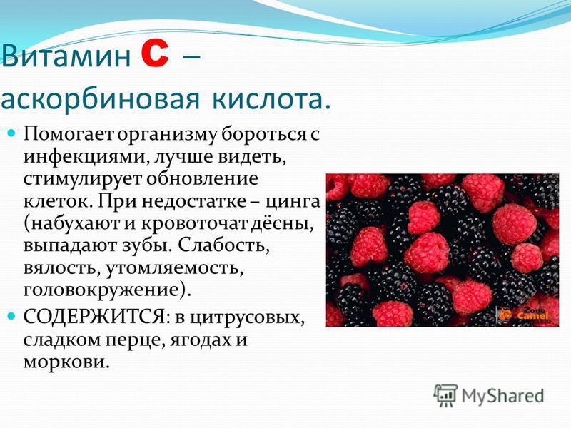 Витамин C – аскорбиновая кислота. Помогает организму бороться с инфекциями, лучше видеть, стимулирует обновление клеток. При недостатке – цинга (набухают и кровоточат дёсны, выпадают зубы. Слабость, вялость, утомляемость, головокружение). СОДЕРЖИТСЯ: