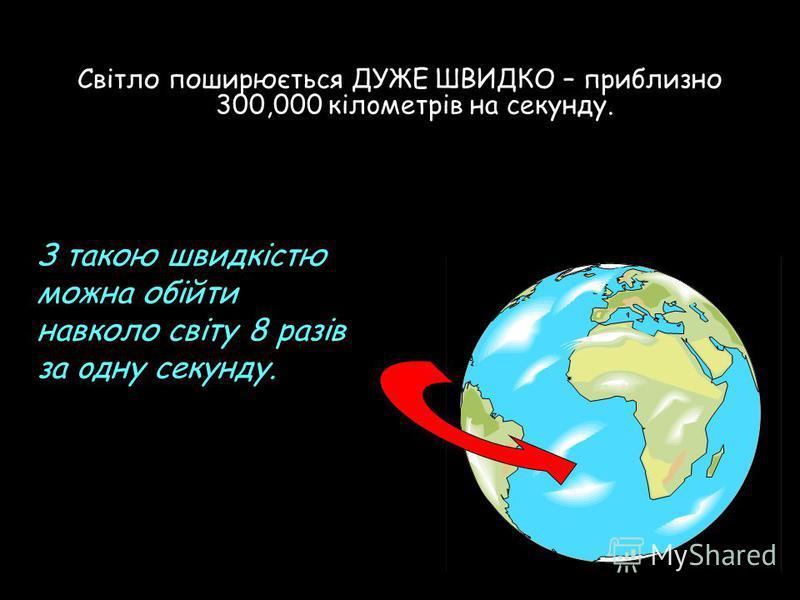 Свiтло поширюється ДУЖЕ ШВИДКО – приблизно 300,000 кiлoметрів на сeкунду. З такою швидкістю можна обійти навколо світу 8 разів за oдну сeкунду.