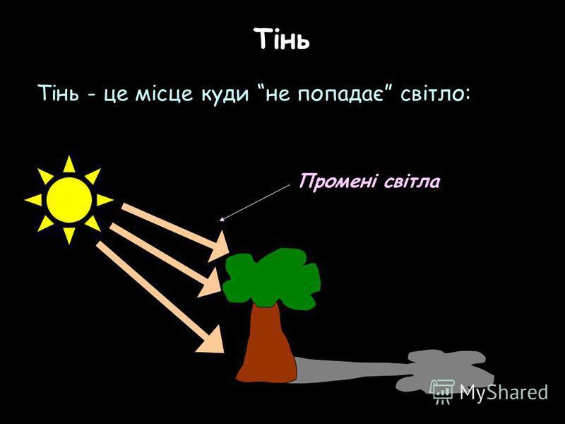 Тінь Тінь - це місце куди не попадає світло: Промені світла