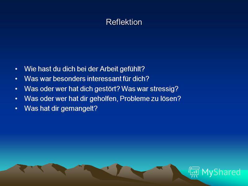 Reflektion Wie hast du dich bei der Arbeit gefühlt? Was war besonders interessant für dich? Was oder wer hat dich gestört? Was war stressig? Was oder wer hat dir geholfen, Probleme zu lösen? Was hat dir gemangelt?