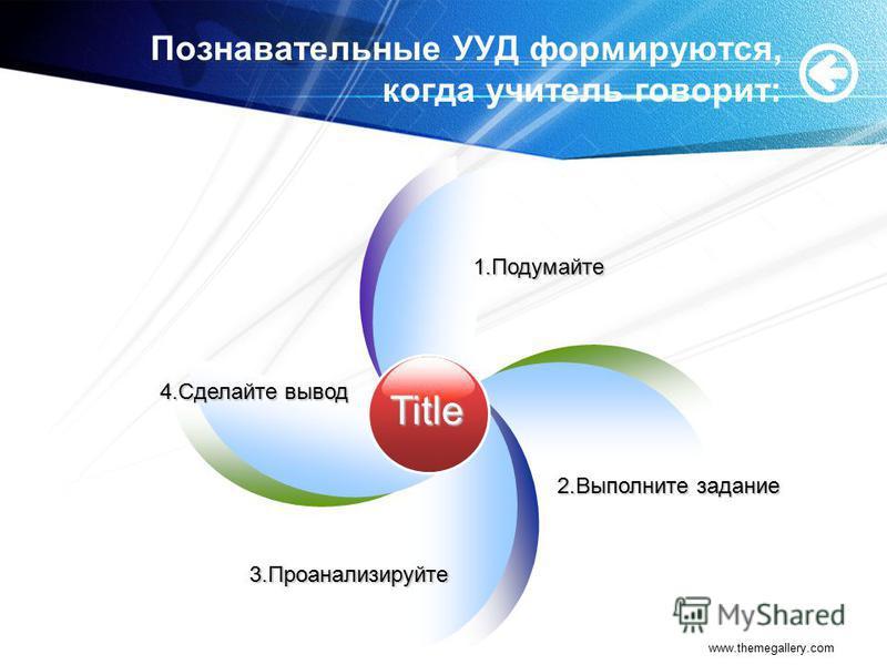 www.themegallery.com Познавательные УУД формируются, когда учитель говорит: Title 4. Сделайте вывод 1. Подумайте 2. Выполните задание 3.Проанализируйте