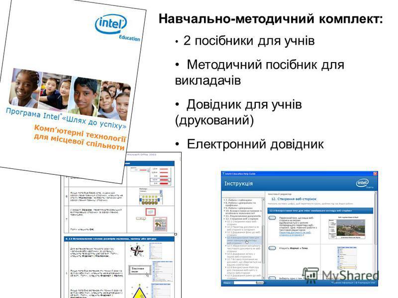 2 посібники для учнів Методичний посібник для викладачів Довідник для учнів (друкований) Електронний довідник Навчально-методичний комплект: