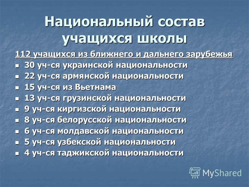 Национальный состав учащихся школы 112 учащихся из ближнего и дальнего зарубежья 30 уч-ся украинской национальности 30 уч-ся украинской национальности 22 уч-ся армянской национальности 22 уч-ся армянской национальности 15 уч-ся из Вьетнама 15 уч-ся и