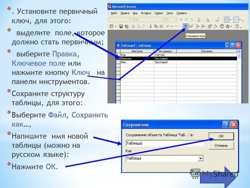 *. Установите первичный ключ, для этого: * выделите поле, которое должно стать первичным; * выберите Правка, Ключевое поле или нажмите кнопку Ключ на панели инструментов. * Сохраните структуру таблицы, для этого: * Выберите Файл, Сохранить как…, * На