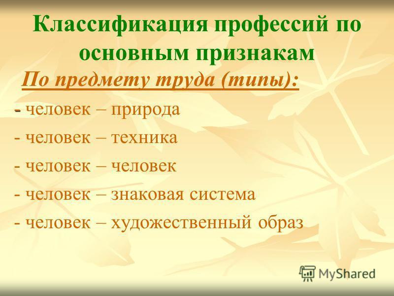 Классификация профессий по основным признакам По предмету труда (типы): - - человек – природа - человек – техника - человек – человек - человек – знаковая система - человек – художественный образ