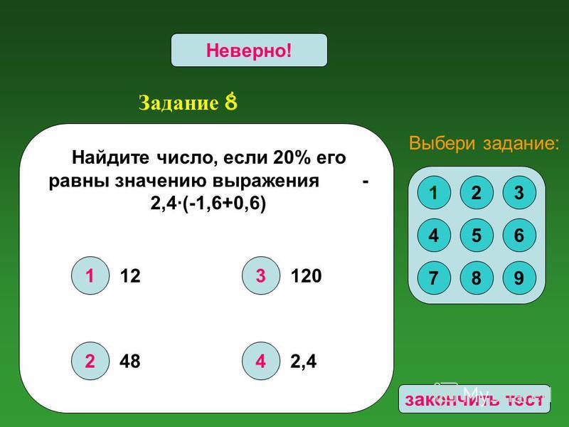 Задание 8 1 2 3 4 Верно!Неверно! Найдите число, если 20% его равны значению выражения - 2,4·(-1,6+0,6) 123 456 789 Выбери задание: 12 48 120 2,4 закончить тест