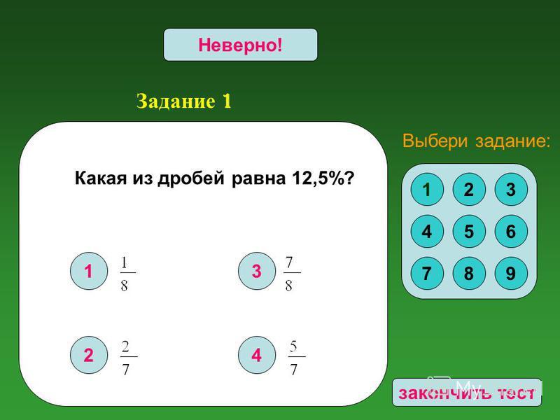 Задание 1 1 2 3 4 Верно!Неверно! 123 456 789 Выбери задание: закончить тест Какая из дробей равна 12,5%?