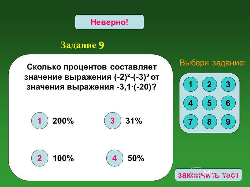 Задание 9 1 2 3 4 Верно!Неверно! Сколько процентов составляет значение выражения (-2)²-(-3)³ от значения выражения -3,1·(-20)? 123 456 789 Выбери задание: 200% 100% 31% 50% закончить тест