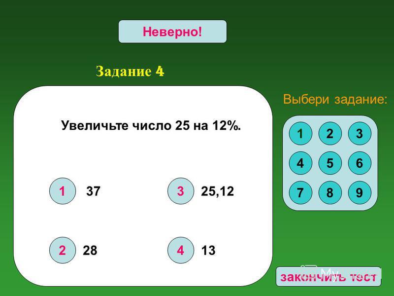 Задание 4 1 2 3 4 Верно!Неверно! Увеличьте число 25 на 12%. 123 456 789 Выбери задание: 37 28 25,12 13 закончить тест