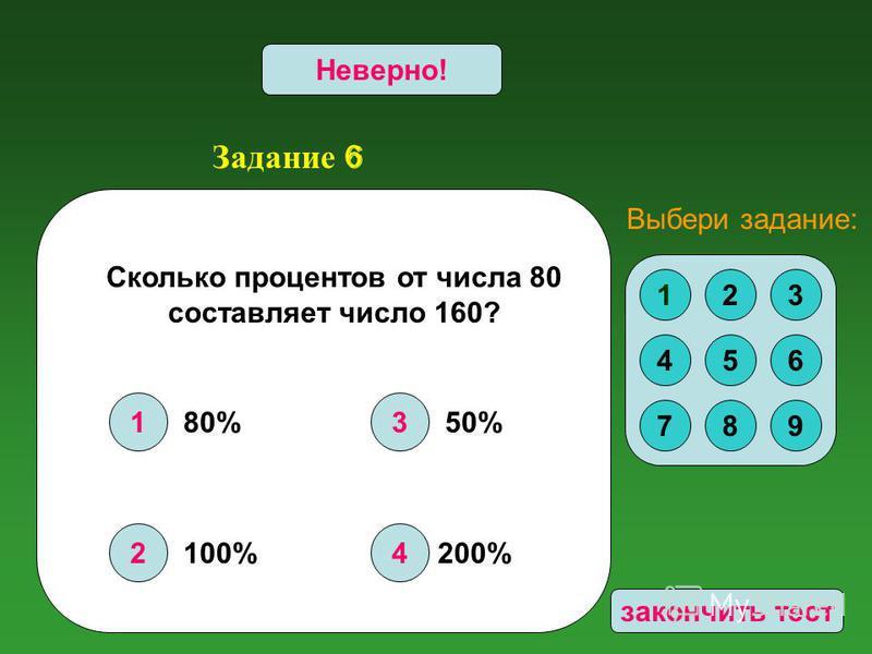 Задание 6 1 2 3 4 Верно!Неверно! Сколько процентов от числа 80 составляет число 160? 123 456 789 Выбери задание: 200% 50%80% 100% закончить тест