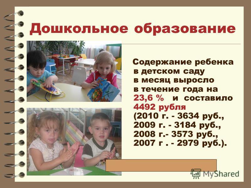 Дошкольное образование Содержание ребенка в детском саду в месяц выросло в течение года на 23,6 % и составило 4492 рубля (2010 г. - 3634 руб., 2009 г. - 3184 руб., 2008 г.- 3573 руб., 2007 г. - 2979 руб.).