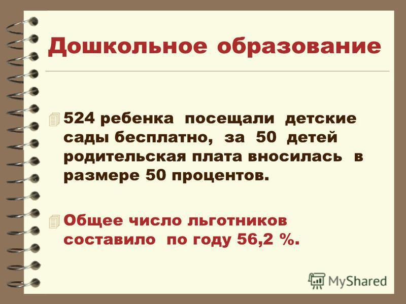 Дошкольное образование 4 524 ребенка посещали детские сады бесплатно, за 50 детей родительская плата вносилась в размере 50 процентов. Общее число льготников составило по году 56,2 %.