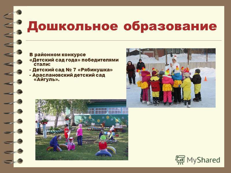 Дошкольное образование В районном конкурсе «Детский сад года» победителями стали: - Детский сад 7 «Рябинушка» - Араслановский детский сад «Айгуль».