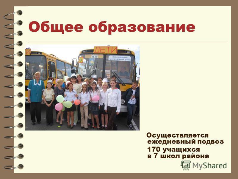 Общее образование Осуществляется ежедневный подвоз 170 учащихся в 7 школ района