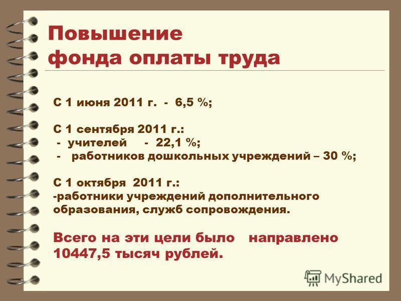 Повышение фонда оплаты труда С 1 июня 2011 г. - 6,5 %; С 1 сентября 2011 г.: - учителей - 22,1 %; - работников дошкольных учреждений – 30 %; С 1 октября 2011 г.: -работники учреждений дополнительного образования, служб сопровождения. Всего на эти цел