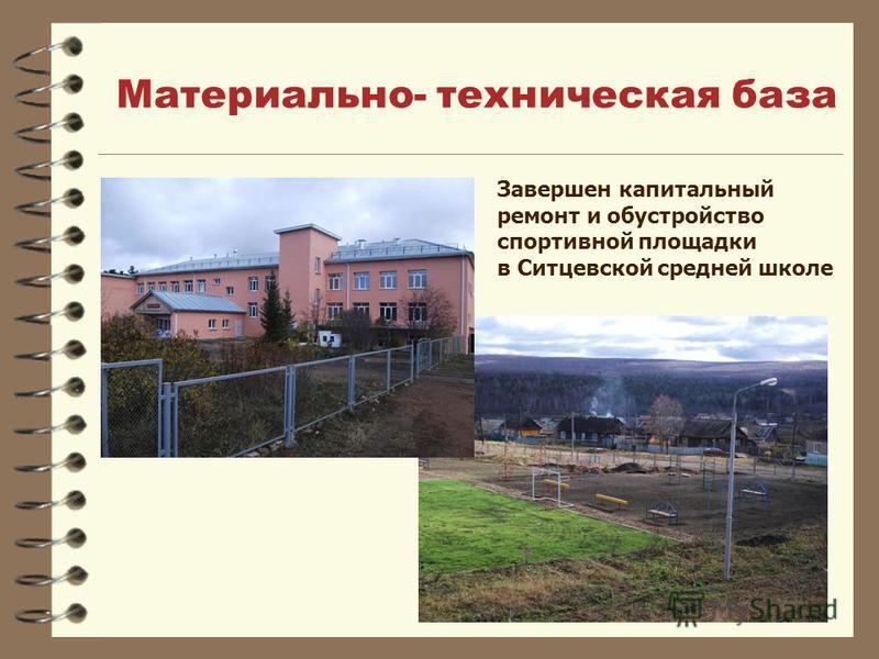 Материально- техническая база Завершен капитальный ремонт и обустройство спортивной площадки в Ситцевской средней школе