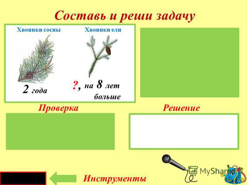 Проверка Решение 6 - 1 = 5 ( тыс. л. ) Д. дракона – 6 тыс. лет Баобаб-?, на 1 тыс. лет меньше Составь и реши задачу Инструменты 6 тысяч лет на 1 тысячу лет меньше ?,?, Драконовое дерево Баобаб