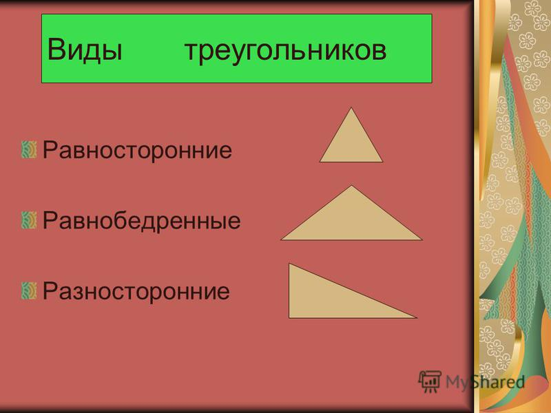 Виды треугольников Равносторонние Равнобедренные Разносторонние