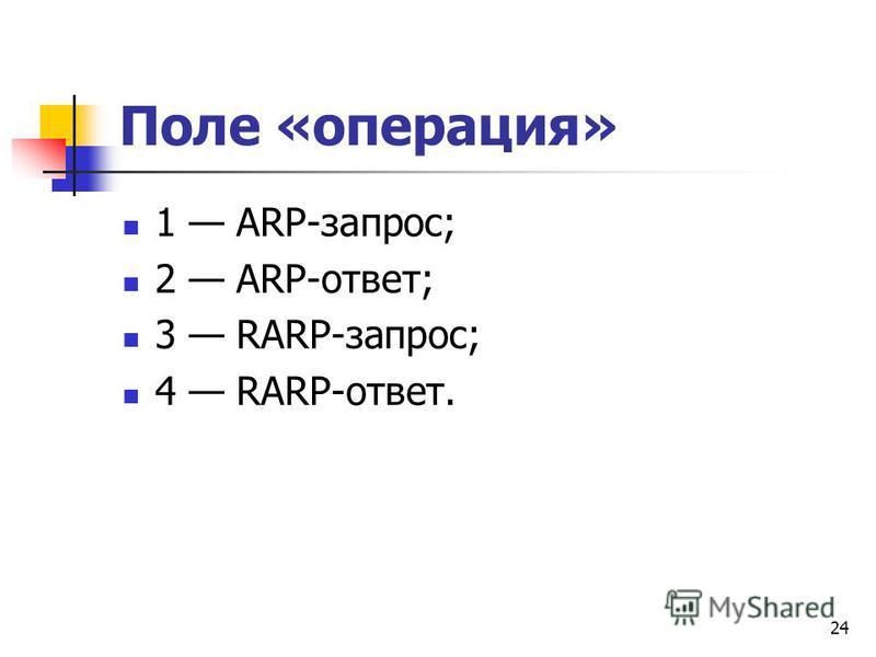 24 Поле «операция» 1 ARP-запрос; 2 ARP-ответ; 3 RARP-запрос; 4 RARP-ответ.