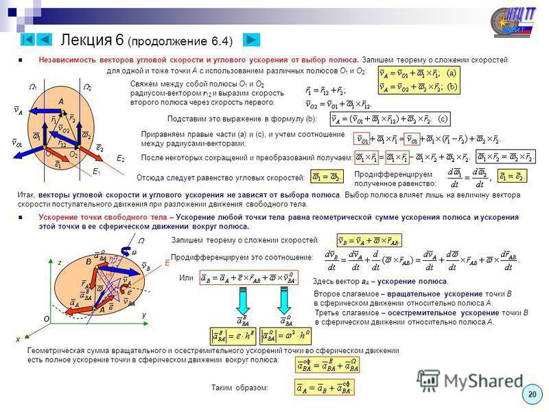 Лекция 6 (продолжение 6.4) Независимость векторов угловой скорости и углового ускорения от выбор полюса. Запишем теорему о сложении скоростей для одной и тоже точки A с использованием различных полюсов O 1 и O 2 : 1 2 O2O2 O1O1 A Свяжем между собой п